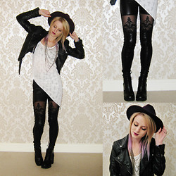 Sammy C - Wet Look Lace Suspender Legging, Topshop Top, H&M Platform Boot, H&M Fedora - GOING TO HELL