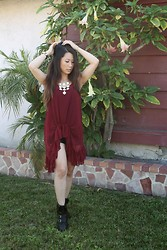 Kimberly Luu - Gypsy Junkies Burgundy Sheer Top, Forever 21 Faux Leather Shorts, Bucco Sneaker Wedges, Charming Charlie Necklace - Sheer Madness#outfit