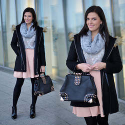 Renata M.. - Sheinside Parka, Sheinside Sweater, Frontrowshop Skirt, Zara Boots, C&A Scarf - Light pink skirt and grey sweater