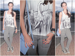 Pauline - Forever 21 Tank, Levi's® Grey Cargos, Areopostale Silver Wedge Sneakers, Forever 21 Bracelet And Rings, Coach Bag - Sporty Swan