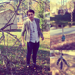 Zachary Davis - Second Hand Houndstooth Blazer, Gap White Button Up, Refuge Blue Skinny Jeans, Black Boots, Hand Made Hamsa Pendant, Hand Made Turquoise Pendant, Hand Made Feather Pendant - What to do about nothing?
