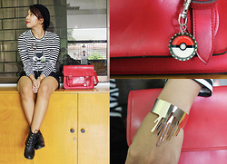 Angeline Rodriguez - Hodge Podge Pokeball Keychain, Frontrowshop Gold Dripping Cuff Bracelet, Impulse Co Red Satchel Bag, Frontrowshop Striped Batman Shirt, Sm Parisian Black Boots - Choose to be happy.