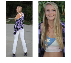 Kristen M. - Kirra Plaid Shirt, Guess? White Jeans, Bdg American Flag Crop Top - Dont you ever say i just walked away