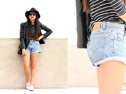 Jennifer Aranda - Levi's® Vintage Shorts, Leather Jacket, Marc By Jacobs Handbag, Urban Outfitters Damn Belt, Forever 21 Hat - Vintage denim