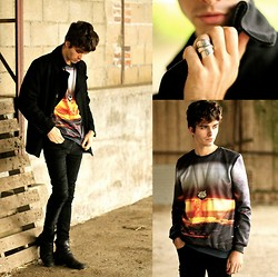 "Matthias C. - Mr. Gugu & Miss Go Sweater, Boss Orange Pea Coat, Black Skinny Jeans, Black Leather Boots, Maison Martin Margiela Spoon Ring - ""Super Nova"" - Last Day GIVEAWAY"
