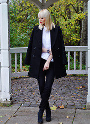 Coverstories.de - Zara Coat, H&M Skinny Jeans, Tamaris Ankle Boots - Boyfriend shirt