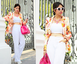 MASTURAH K. - Furla Candy Bag, Forever New Necklace, Zara Floral Blazer, Asos Flare Pants, Asos Sunglasses, Jeffrey Campbell Lonestar Platforms - Candy Colours