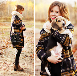 Wioletta Mary Kate - Sheinside Coat, Chic Wish Bag, Papilion Shoes - Plaid Coat & My Lovely Puppy