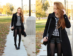 Stephanie D - Cleocat Fashion Houndstooth Sweater, Nasty Gal Booties - Capitol Hill