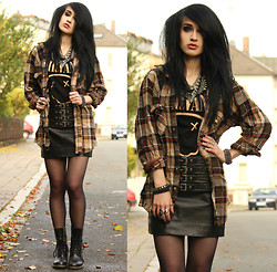 Tessa Diamondly - Vintage Flannel Shirt, H&M Nirvana Tee, Mango Buckled Leather Skirt, Dr. Martens Boots, Zara Spike Collar - All Apologies.