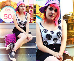 INNER RIOT † - H&M Skull Tank, Drop Dead High Waist Skirt, Glamour Kills Holiday Cap - Why can't you just be happy?