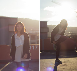 Melanie L - Bershka Blouse, Nike Flyknits - The Sun came out to Play