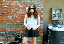 Allysa Stone - H&M White Shirt, Black Leather Skirt, Ray Ban Sunglasses - I like your reckoning