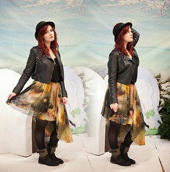 Molly McIsaac - Love Culture Faux Leather Jacket, Romwe Galaxy Skirt, Justfab Studded Boots - 100% Star Stuff