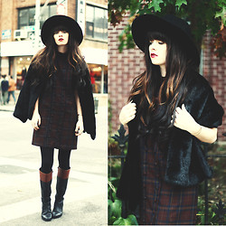 Rachel-Marie Iwanyszyn - Thrifte Fur Stole, Plaid Dress, Two Toned Boots - IN BETWEEN FALL/WINTER.