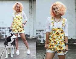 Nün Stannard - Asos Necklace, Mind The Mustard Mesh Top, American Apparel Daisy Dungarees, Style Nanda Platform Sneakers - Kill Your Look, Not An Animal!