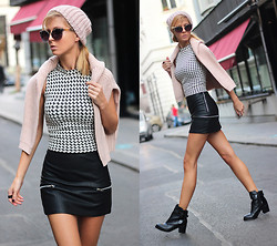 Sirma Markova - Stradivarius Houndstooth Print Crop Top, Choies Mini Black Skirt In Leather With Zippers, Choies Heeled Ankle Boots With Patent Panel, Zara Pink Sweater, Bershka Beanie Hat - Candy knit, leather and houndstooth print