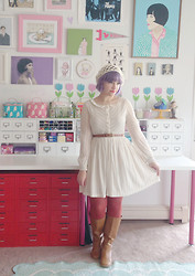 Kate Gabrielle - Oasap Lace Dress, Faux Leather Boots, Target Rust Red Tights, Forever 21 Crochet Hat - Autumn leaves