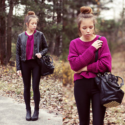 Wioletta Mary Kate - Infiniteen Jacket, Sheinside Sweater, Chic Wish Bag, Vagabond Boots - Purple Sweater & Messy Bun