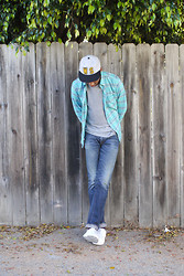 Roderick Hunt - Welcome Stranger Ws Cap, Steven Alan Classic Collegiate Shirt, Simon Miller M003 Coast Rinse - Still In Plaid