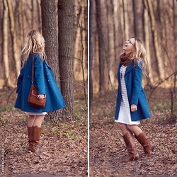 Natalia Yancheva - Oasis Coat, Oasis Bag, Lindex Dress - Blue November