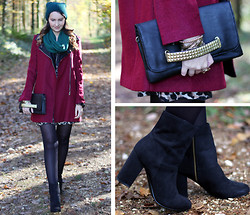 Sabrina K. - Primark Clutch, Chic Wish Burgundy Coat, H&M Boots, Primark Green Hat - Forever meant nothing to me, until I met him!