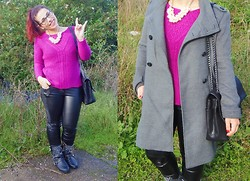 Sara Miriam - Primark Purple Knit, Pull & Bear Greay Coat, Zara Studded Leather Boots, No Brand Leather Pants, Primark Pearl Necklace - Say baby i love you.