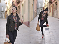 EmerJa Design - Mango Shirt, Zara Jacket, Zara Jeans, Bag - Red heels