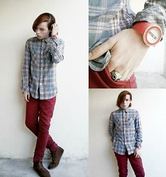 Aria J Blessing - O'neill Red Pants, Bershka Plaid Shirt, Bershka Brown Leather Shoes, Gucci Red Watch, Owl Ring, Septum (Nose Ring) - Plaid Gucci