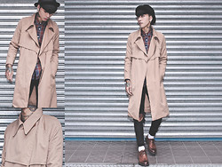 IVAN Chang - Vintage Trensh Coat, Tastemaker 達新美 Plaid Shirt, New York Hat Black, Topshop Black Skinny, While Oxford Shoes - 131113 TODAY STYLE
