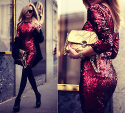 Silvia P. - Dress, Smilingshoes Purse, Dkny Watch, Office London Heels, H&M Cardigan - Red sparkle