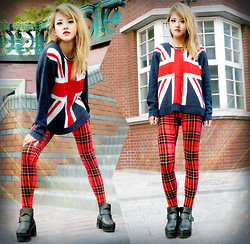 Chanssy X. - Forever 21 British Flag Sweather, Forever 21 Standout Plaid Leggings - ~★ Rock Tartan, Rock BACK to UK ★~
