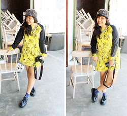 Ollyvia Laura - Gosh Creepers, Gaudi Neon Printed Dress - DRAGON IN YELLOW