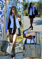 D De - Lee Denim Vest, Imperial Skirt, Balenciaga Papier Bag - Keep smiling