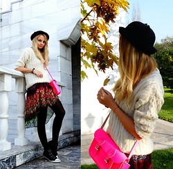 Violetta Privalova - Zara Dress, The Leather Satchel Company 11 Bag, Ash Footwear Boots, Asos Sweater, Asos Hat - CatHat