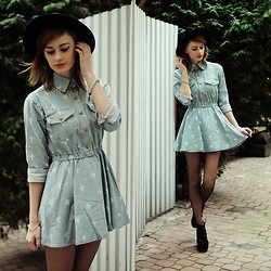 Katarzyna Konderak - Dress, Hat, Heels - Denim dress