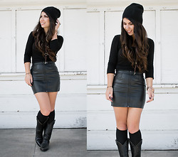 Corinne Alexandra - Krochet Kids Black Beanie, Urban Outfitters Black Long Sleeve Crop, H&M Leather Skirt, Thrifted Black Western Boots - Leather Weather