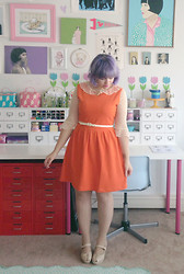 Kate Gabrielle - Bait Footwear Tan Shoes, Sheinside Orange Dress, Vintage Polka Dot Sheer Blouse - Orange you glad