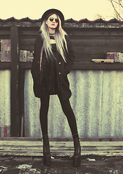 Malin Z - Sheinside Coat, Motel Rocks Velvet Cutout Dress, Unif Neo Boots - Aura