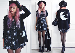Amy Valentine - H&M Spike Fedora, Sheinside Moon Cardigan, Motel Rocks Moon & Star Tiara Dress, Fashion Union Buckle Heels, Vivienne Westwood Bowling Bag - MIDNIGHT MOONLIGHT