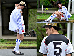 Norman Pascual San Diego - Androgyne Manila Leopard Cap, Striped Long Sleeves, Jersey Tee - GIMME FIVE