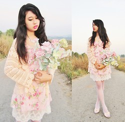 Tasia W. - Thrifted Crochet Cardigan, Floral Dress, Nine West Ribbon Heels, Rose Necklace - Pastel Flowers