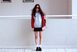 Vu Thien - Wholesale7 Sweater, Thrift Store Skirt, T.U.K Creepers, Local Store Sunglasses - RED
