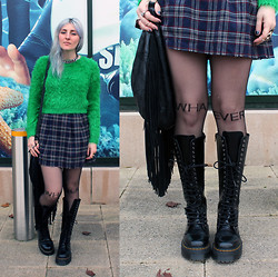 Sarah H. - Dr. Martens Britain Boots, Minkpink Fringed Bag, Topshop Fluffy Jumper, Oasis Tartan Skirt - SEALIFE SEAPUNK