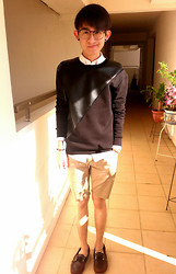 Glendon Thaiw - Zara Leather Cut And Sew Sweatshirt, Sperry Boat Shoes - Cut & Sew