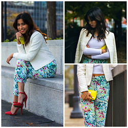 Love Yna - H&M Pseudo Layered Lace Jacket, Forever 21 Floral Joggers, Tobi Katerina Pumps - Fall Time Floral
