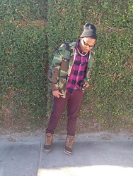 Kedrick Pasley - Tamarack Duck Boots, Carbon Burgundy Jeans, Hollywood Plaid Shirt, Camoflauge Jacket, Carbon Gold Necklace, Aldo Glasses, Black Beanie - I refuse to be a copy just to fit in.