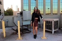 Jade Taylor-Allred - Massimo Dutti Boots, All Saints Leather Skirt, H&M Blazer, Aj Morgan Sunglasses, Oak Crop Top - French Persuasion