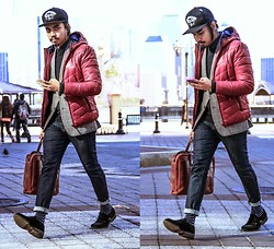 Denny Balmaceda - H&M Burgundy Puffy Jacket, Dkny Loafers - Cold War Kids.