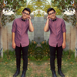 ☾ Anthony Eric ☽ - Diy Studded Bow Tie, Guess? Polka Dot, H&M Black Skinny, Forever 21 Black Boots - You're Whisky, Wasted, & Beautiful
